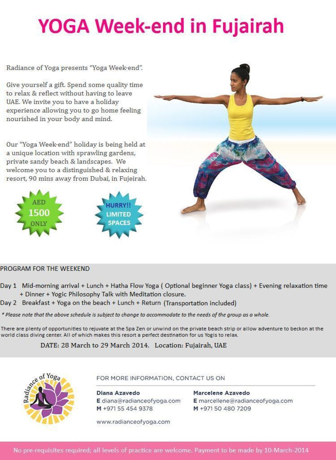 Yoga weekend in Fujairah – Welcome to Radiance of Yoga