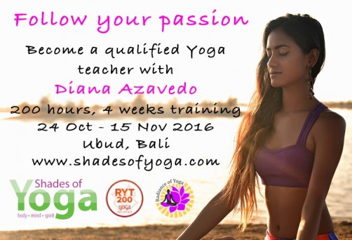 Yoga Teacher Training, Bali, 24 Oct -16 Nov 2016